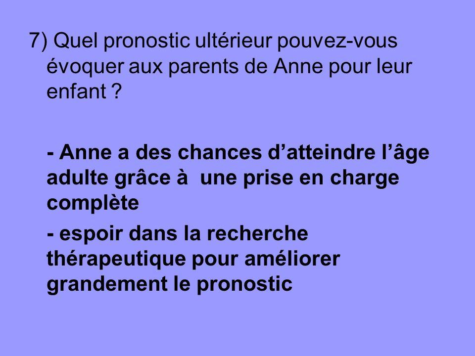 7) Quel pronostic ultérieur pouvez-vous évoquer aux parents de Anne pour leur enfant ? - Anne a des chances datteindre lâge adulte grâce à une prise e