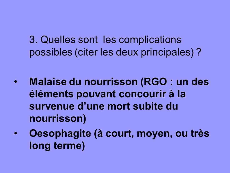3. Quelles sont les complications possibles (citer les deux principales) ? Malaise du nourrisson (RGO : un des éléments pouvant concourir à la survenu