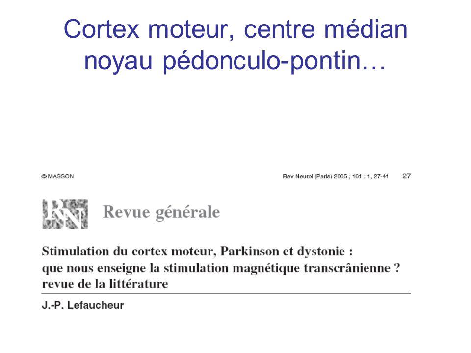 Cortex moteur, centre médian noyau pédonculo-pontin…