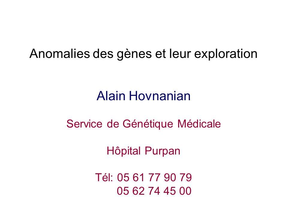 Anomalies des gènes et leur exploration Alain Hovnanian Service de Génétique Médicale Hôpital Purpan Tél: 05 61 77 90 79 05 62 74 45 00