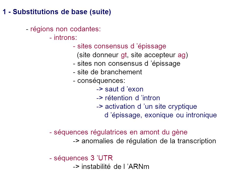 1 - Substitutions de base (suite) - régions non codantes: - introns: - sites consensus d épissage (site donneur gt, site accepteur ag) - sites non con