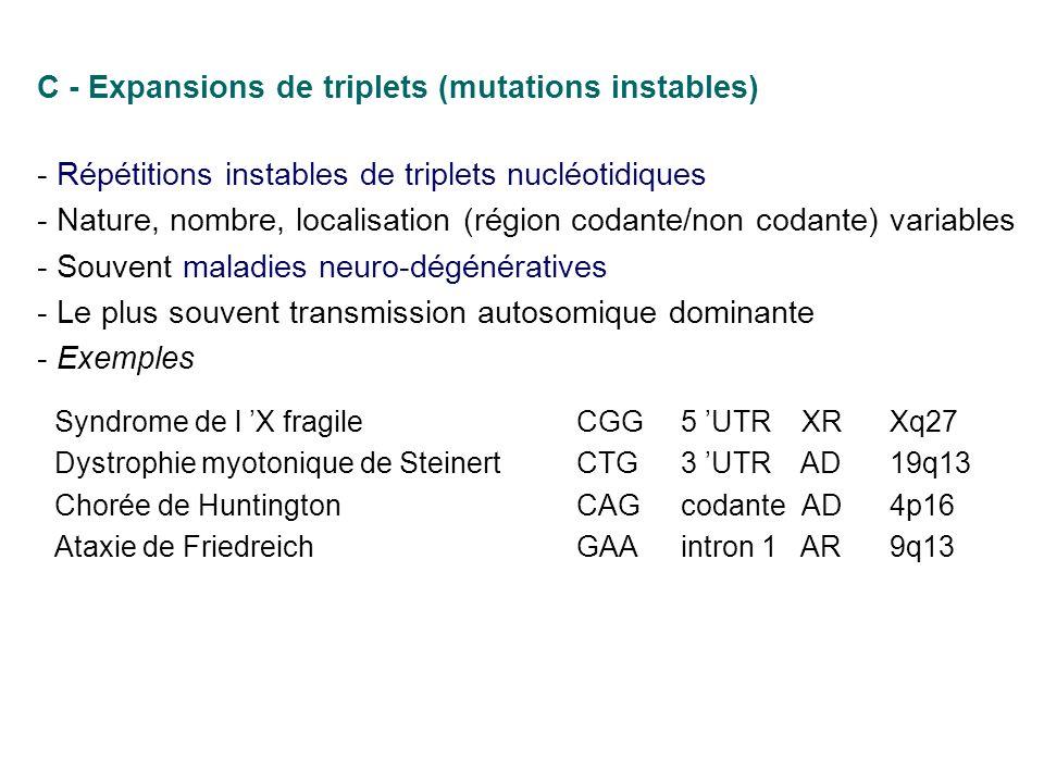 C - Expansions de triplets (mutations instables) - Répétitions instables de triplets nucléotidiques - Nature, nombre, localisation (région codante/non