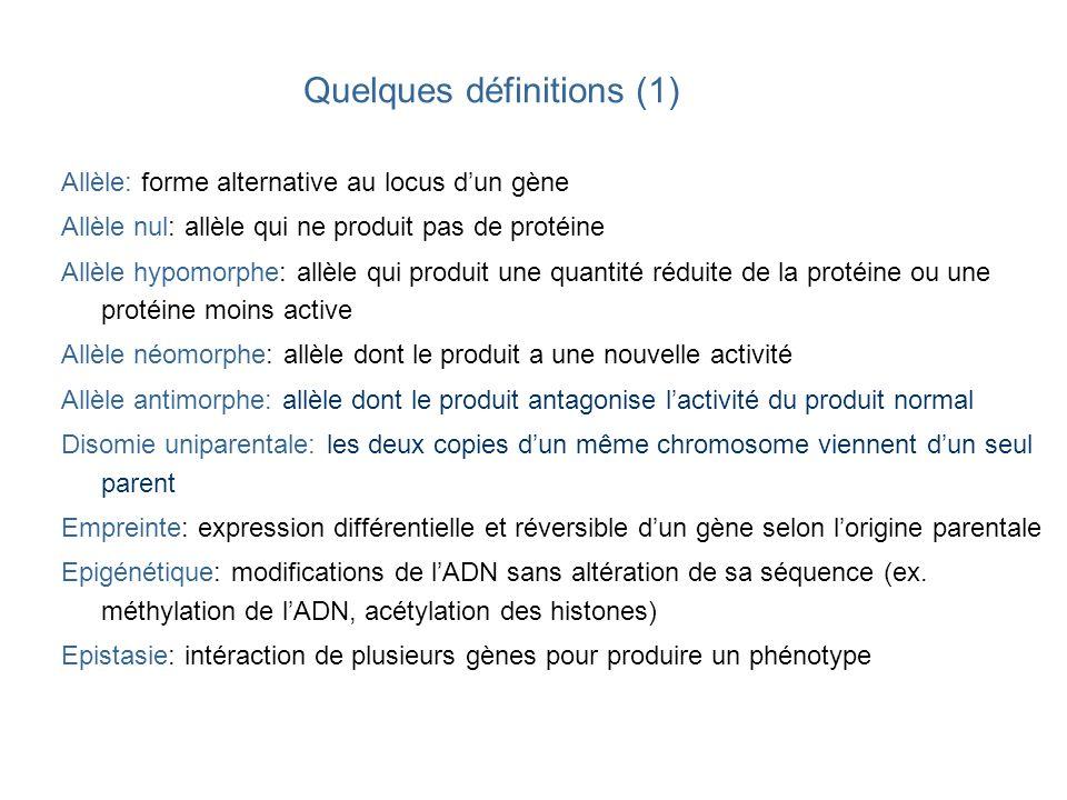 Quelques définitions (1) Allèle: forme alternative au locus dun gène Allèle nul: allèle qui ne produit pas de protéine Allèle hypomorphe: allèle qui p