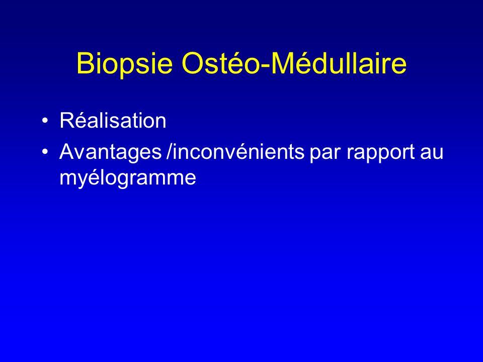 Biopsie Ostéo-Médullaire Réalisation Avantages /inconvénients par rapport au myélogramme