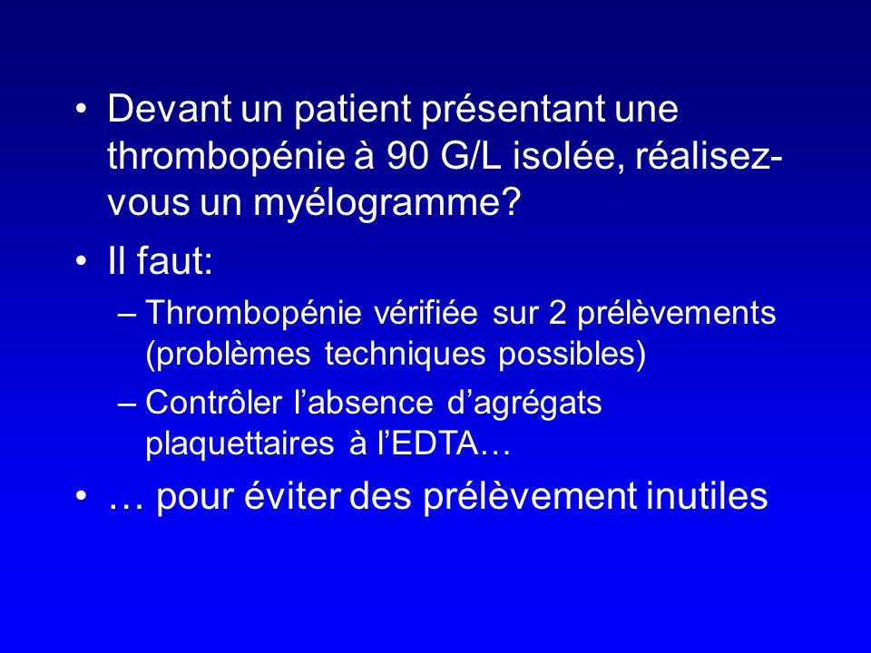 Devant un patient présentant une thrombopénie à 90 G/L isolée, réalisez- vous un myélogramme? Il faut: –Thrombopénie vérifiée sur 2 prélèvements (prob
