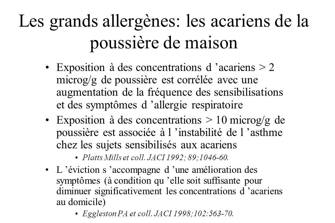 Les grands allergènes: les acariens de la poussière de maison Exposition à des concentrations d acariens > 2 microg/g de poussière est corrélée avec u