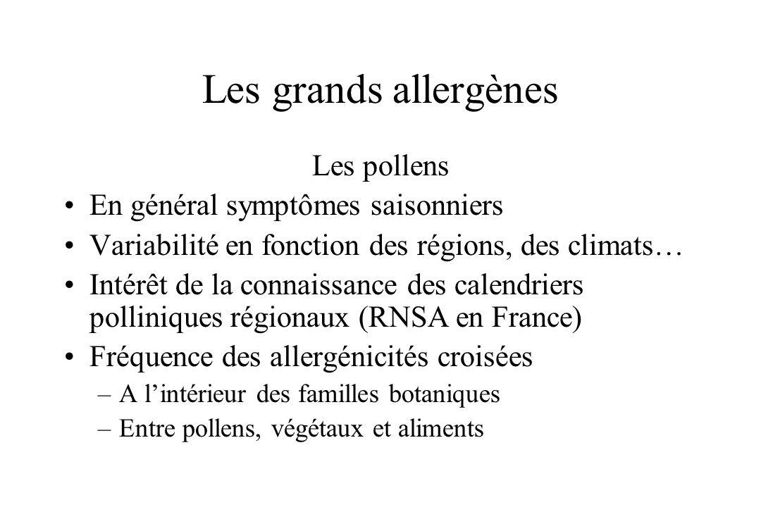 Les grands allergènes Les pollens En général symptômes saisonniers Variabilité en fonction des régions, des climats… Intérêt de la connaissance des ca