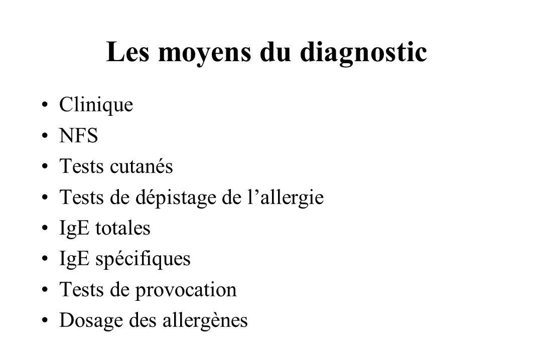 Les moyens du diagnostic Clinique NFS Tests cutanés Tests de dépistage de lallergie IgE totales IgE spécifiques Tests de provocation Dosage des allerg