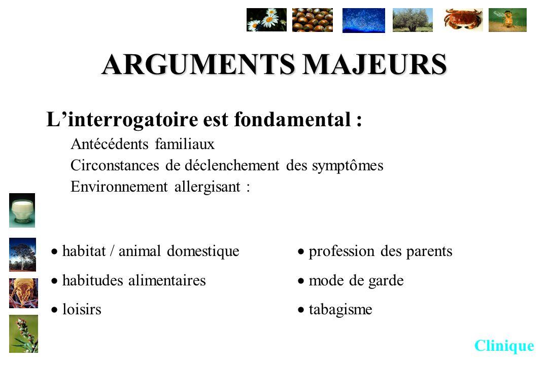 ARGUMENTS MAJEURS Linterrogatoire est fondamental : Antécédents familiaux Circonstances de déclenchement des symptômes Environnement allergisant : hab