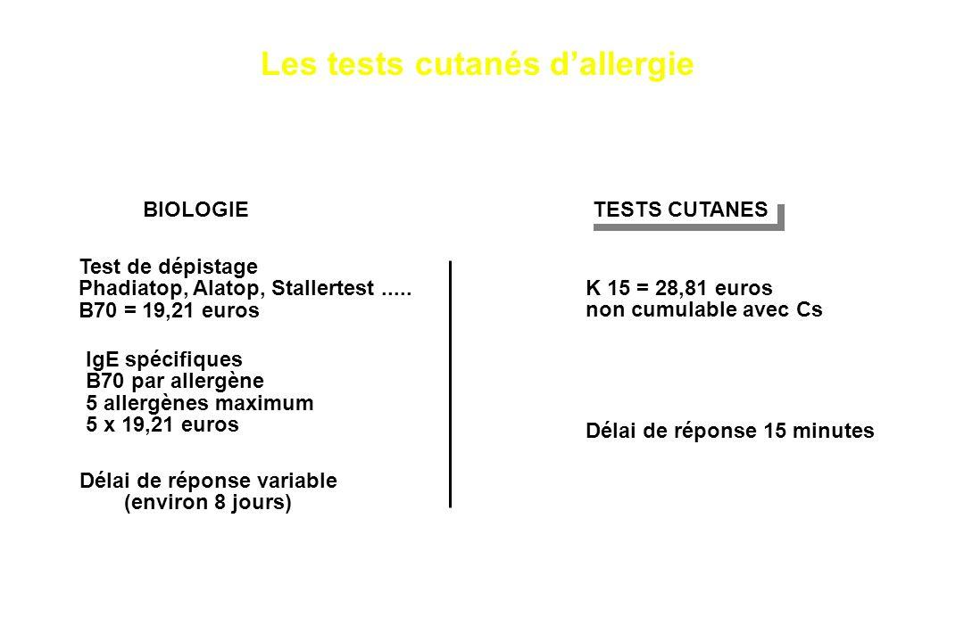 BIOLOGIE Test de dépistage Phadiatop, Alatop, Stallertest..... B70 = 19,21 euros IgE spécifiques B70 par allergène 5 allergènes maximum 5 x 19,21 euro