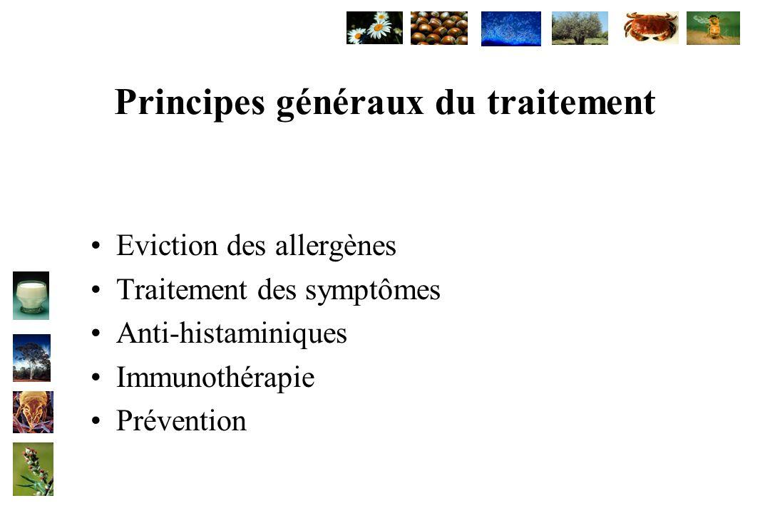 Principes généraux du traitement Eviction des allergènes Traitement des symptômes Anti-histaminiques Immunothérapie Prévention