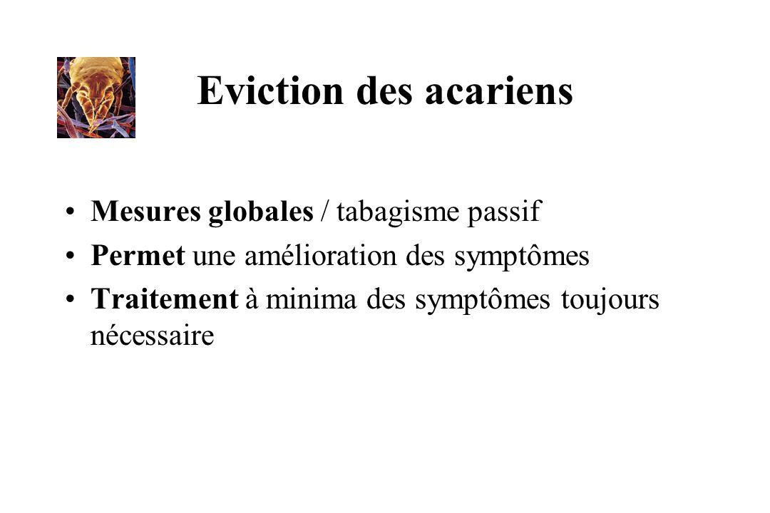 Eviction des acariens Mesures globales / tabagisme passif Permet une amélioration des symptômes Traitement à minima des symptômes toujours nécessaire