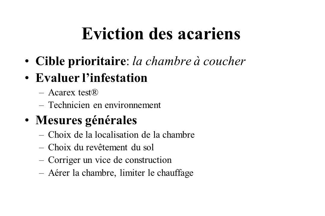 Eviction des acariens Cible prioritaire: la chambre à coucher Evaluer linfestation –Acarex test® –Technicien en environnement Mesures générales –Choix