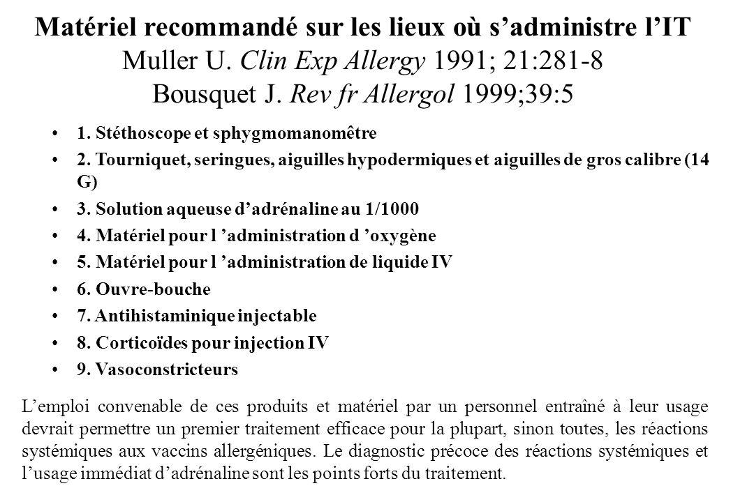 Matériel recommandé sur les lieux où sadministre lIT Muller U. Clin Exp Allergy 1991; 21:281-8 Bousquet J. Rev fr Allergol 1999;39:5 1. Stéthoscope et