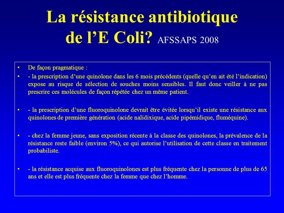 La résistance antibiotique de lE Coli? AFSSAPS 2008 De façon pragmatique : - la prescription dune quinolone dans les 6 mois précédents (quelle quen ai