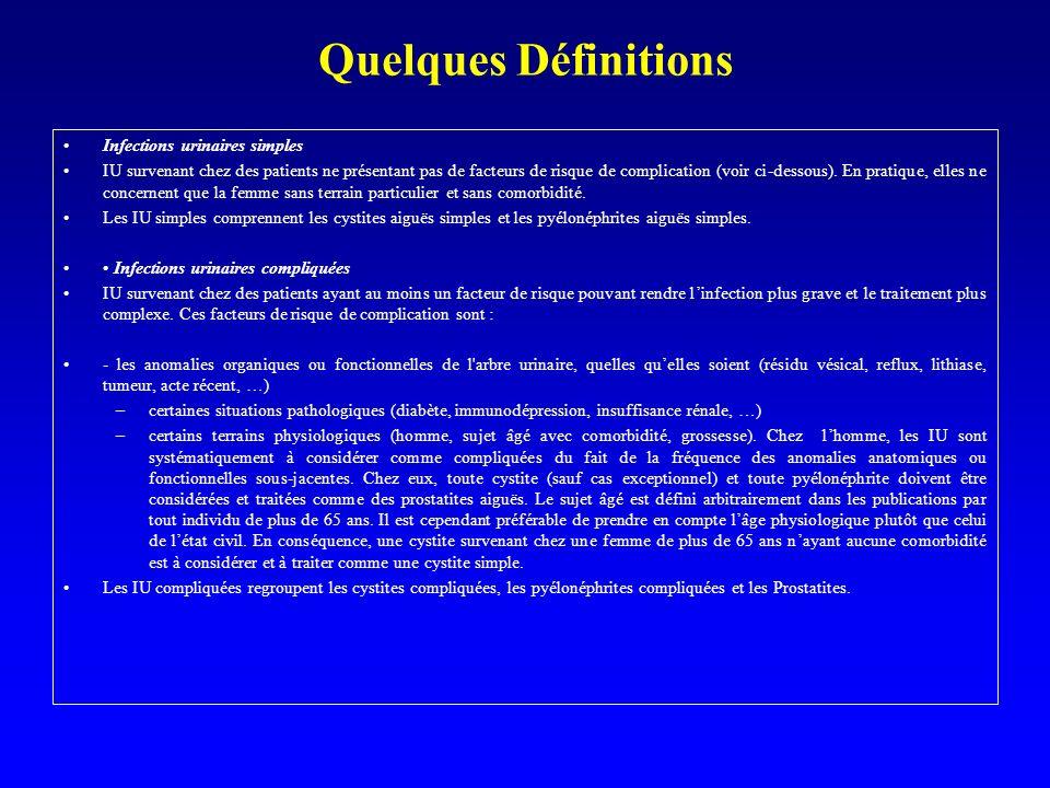 Quelques Définitions Remarques importantes Quelle soit initialement simple ou compliquée, une IU peut saccompagner d un sepsis grave parfois dénommé « uro-sepsis».