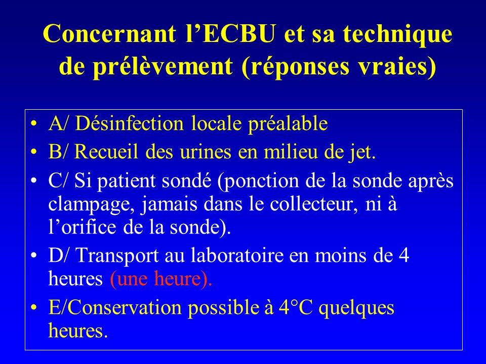 Concernant lECBU et sa technique de prélèvement (réponses vraies) A/ Désinfection locale préalable B/ Recueil des urines en milieu de jet. C/ Si patie