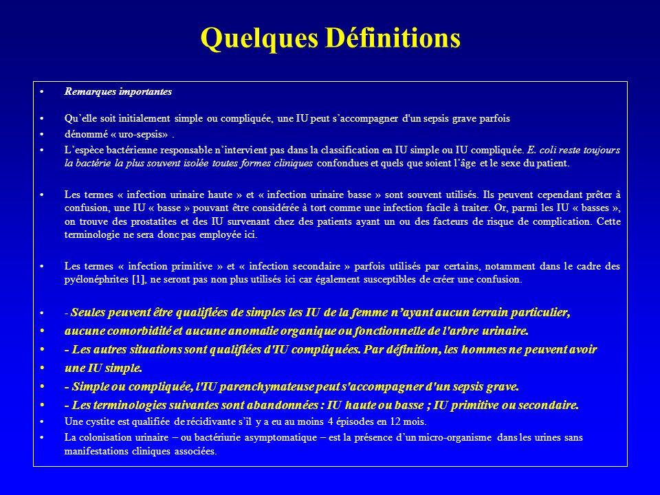 Quelques Définitions Remarques importantes Quelle soit initialement simple ou compliquée, une IU peut saccompagner d'un sepsis grave parfois dénommé «