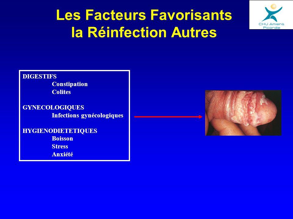 Les Facteurs Favorisants la Réinfection Autres DIGESTIFS Constipation Colites GYNECOLOGIQUES Infections gynécologiques HYGIENODIETETIQUES Boisson Stre