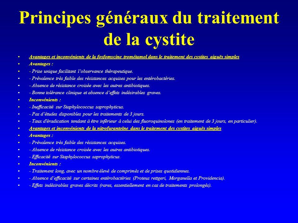 Principes généraux du traitement de la cystite Avantages et inconvénients de la fosfomycine trométamol dans le traitement des cystites aiguës simples