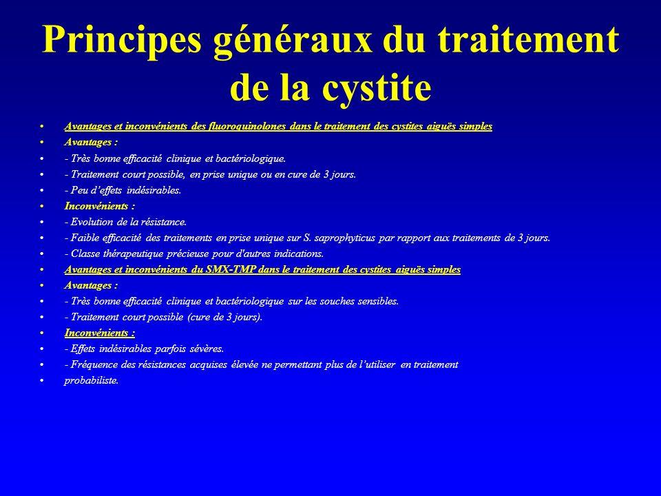 Principes généraux du traitement de la cystite Avantages et inconvénients des fluoroquinolones dans le traitement des cystites aiguës simples Avantage