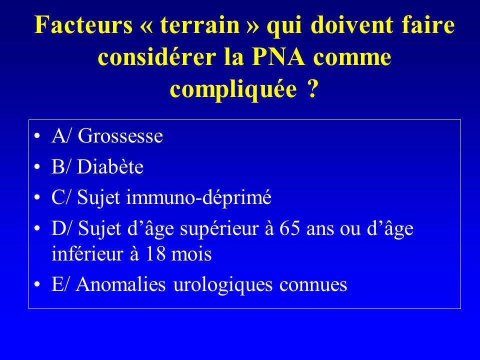 Facteurs « terrain » qui doivent faire considérer la PNA comme compliquée ? A/ Grossesse B/ Diabète C/ Sujet immuno-déprimé D/ Sujet dâge supérieur à
