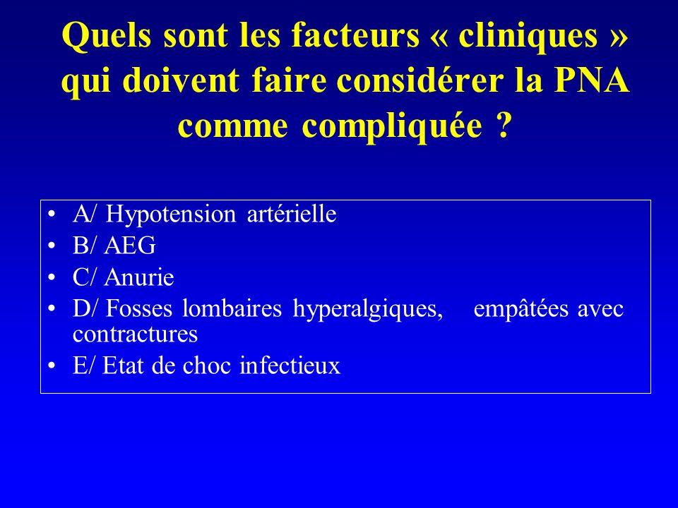 Quels sont les facteurs « cliniques » qui doivent faire considérer la PNA comme compliquée ? A/ Hypotension artérielle B/ AEG C/ Anurie D/ Fosses lomb