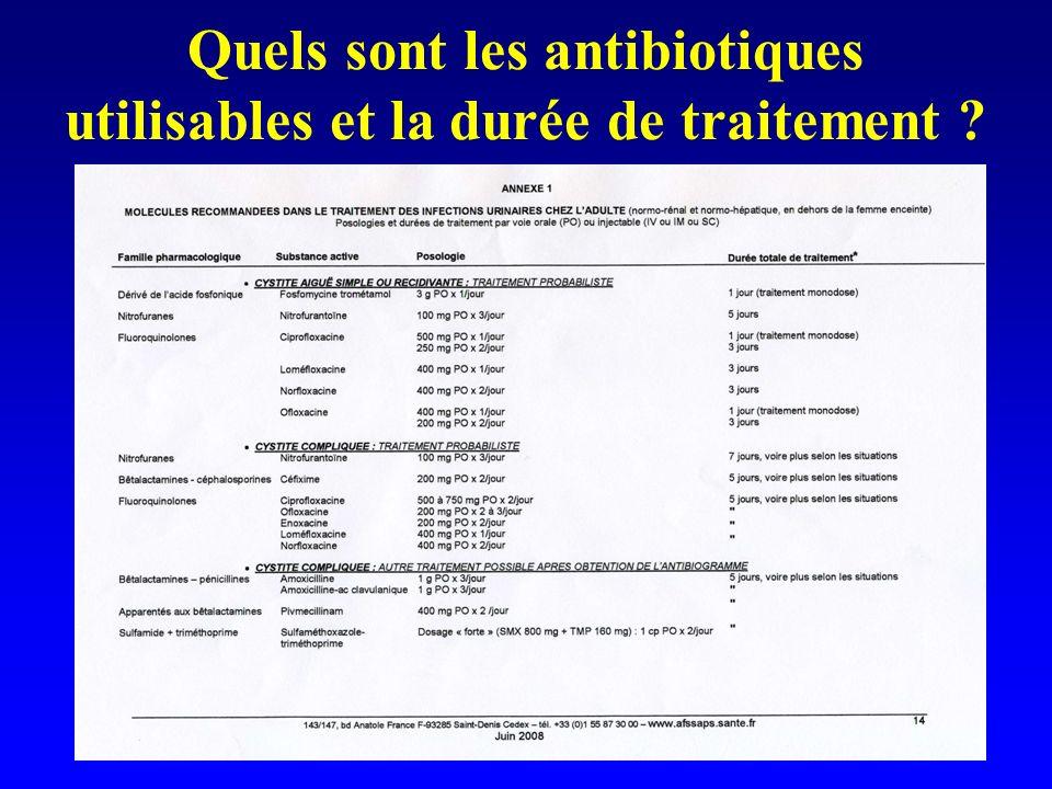Quels sont les antibiotiques utilisables et la durée de traitement ?