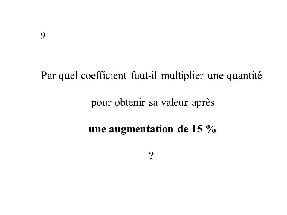 Par quel coefficient faut-il multiplier une quantité pour obtenir sa valeur après une augmentation de 15 % .