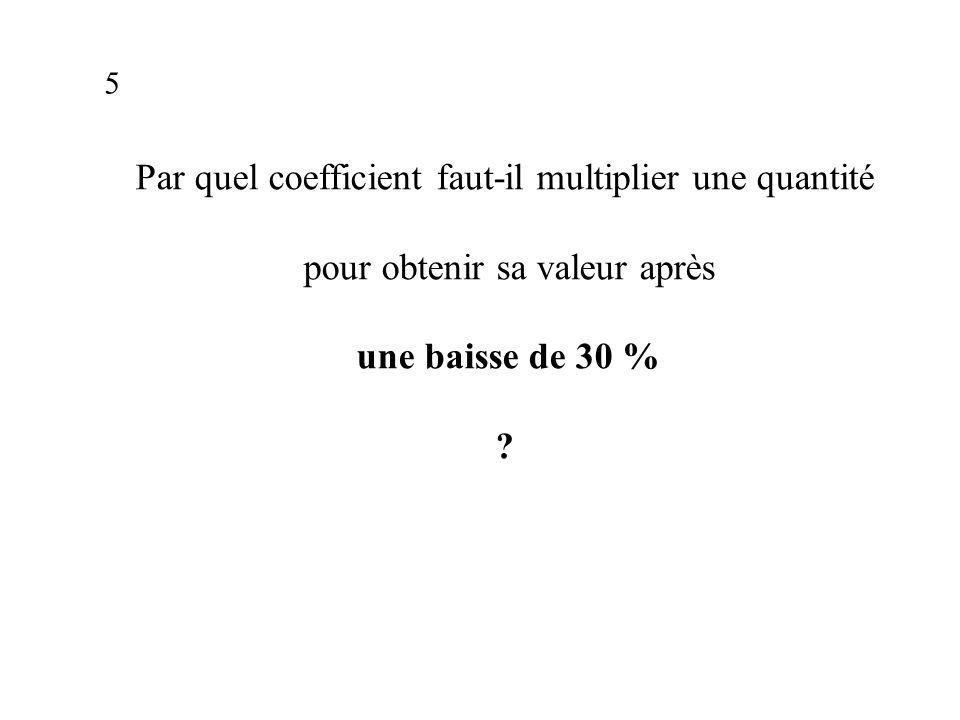 Par quel coefficient faut-il multiplier une quantité pour obtenir sa valeur après une baisse de 30 % .