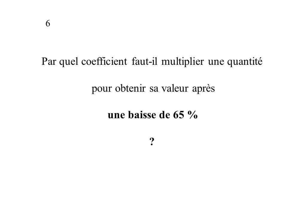Par quel coefficient faut-il multiplier une quantité pour obtenir sa valeur après une baisse de 65 % .