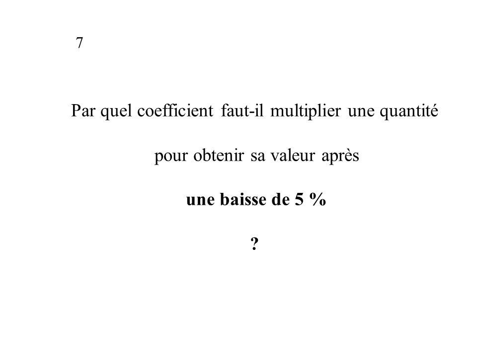 Par quel coefficient faut-il multiplier une quantité pour obtenir sa valeur après une baisse de 5 % .
