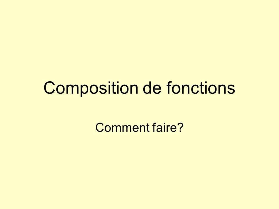 Composition de fonctions Comment faire?