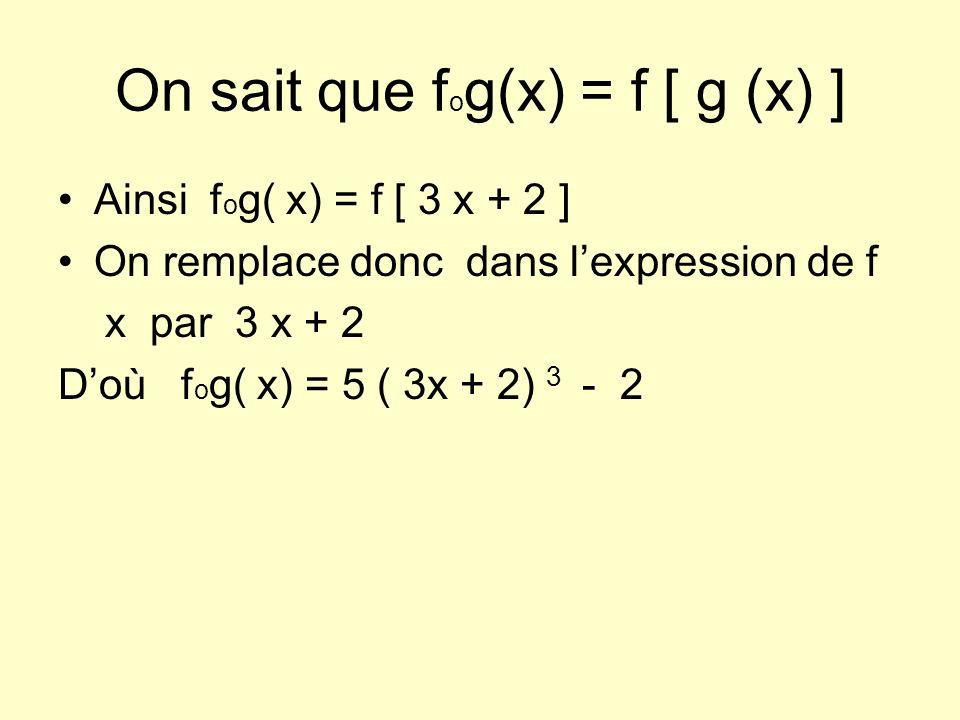 On sait que f o g(x) = f [ g (x) ] Ainsi f o g( x) = f [ 3 x + 2 ] On remplace donc dans lexpression de f x par 3 x + 2 Doù f o g( x) = 5 ( 3x + 2) 3