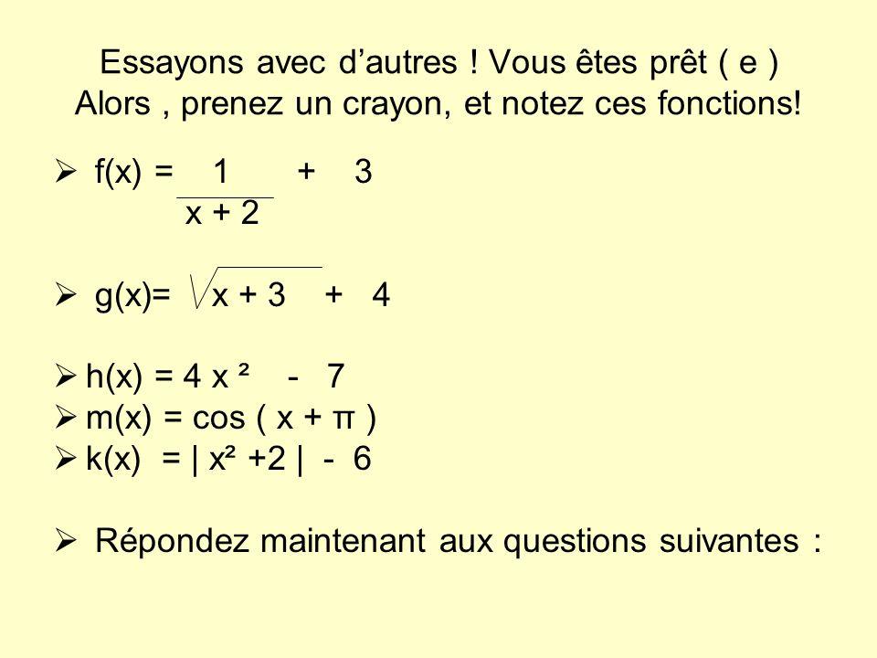 Essayons avec dautres ! Vous êtes prêt ( e ) Alors, prenez un crayon, et notez ces fonctions! f(x) = 1 + 3 x + 2 g(x)= x + 3 + 4 h(x) = 4 x ² - 7 m(x)