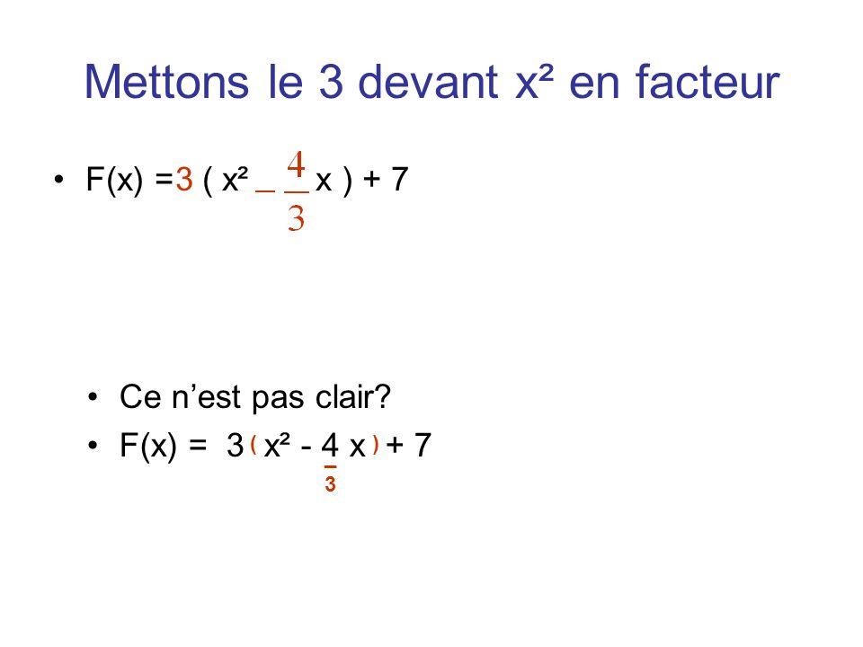 Mettons le 3 devant x² en facteur F(x) = ( x² x ) + 73 Ce nest pas clair? F(x) = 3 x² - 4 x + 7 ( _ ) 3