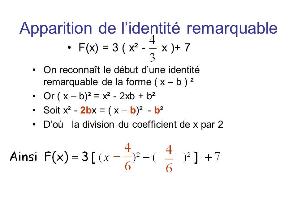 Apparition de lidentité remarquable F(x) = 3 ( x² - x )+ 7 On reconnaît le début dune identité remarquable de la forme ( x – b ) ² Or ( x – b)² = x² -