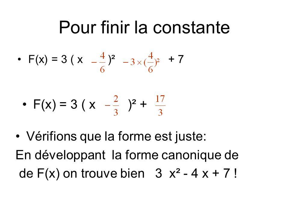 Pour finir la constante F(x) = 3 ( x )² + 7 F(x) = 3 ( x )² + Vérifions que la forme est juste: En développant la forme canonique de de F(x) on trouve