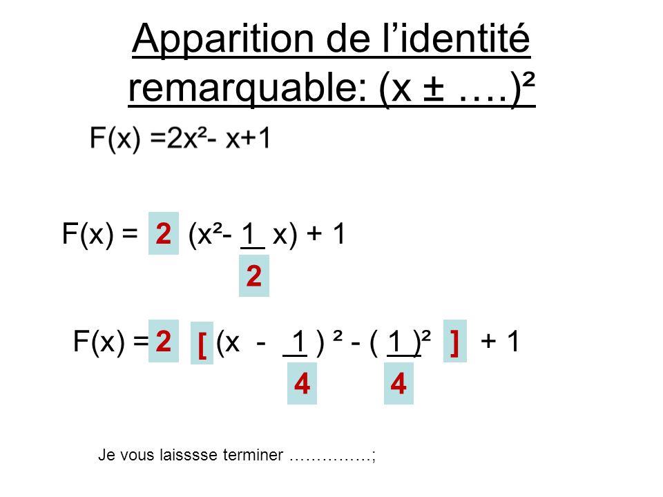 Apparition de lidentité remarquable: (x ± ….)² 2 2 2 44 [ ] F(x) = (x²- 1 x) + 1 F(x) = (x - 1 ) ² - ( 1 )² + 1 Je vous laisssse terminer ……………;