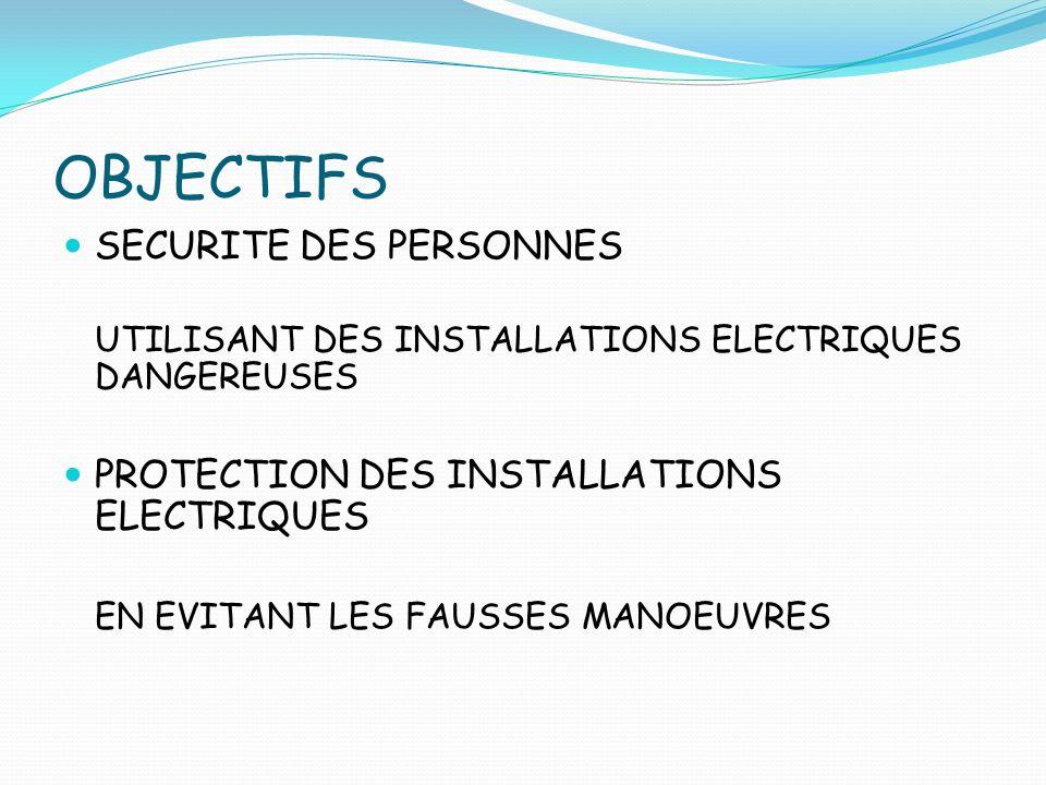 OBJECTIFS SECURITE DES PERSONNES UTILISANT DES INSTALLATIONS ELECTRIQUES DANGEREUSES PROTECTION DES INSTALLATIONS ELECTRIQUES EN EVITANT LES FAUSSES M