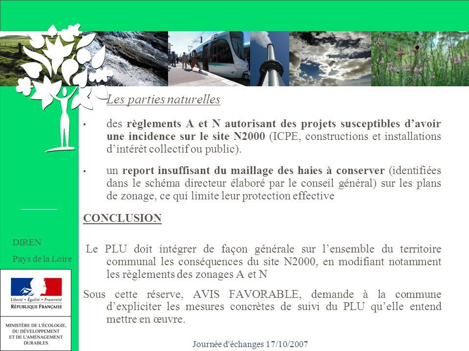 Journée d échanges 17/10/2007 Les parties naturelles des règlements A et N autorisant des projets susceptibles davoir une incidence sur le site N2000 (ICPE, constructions et installations dintérêt collectif ou public).