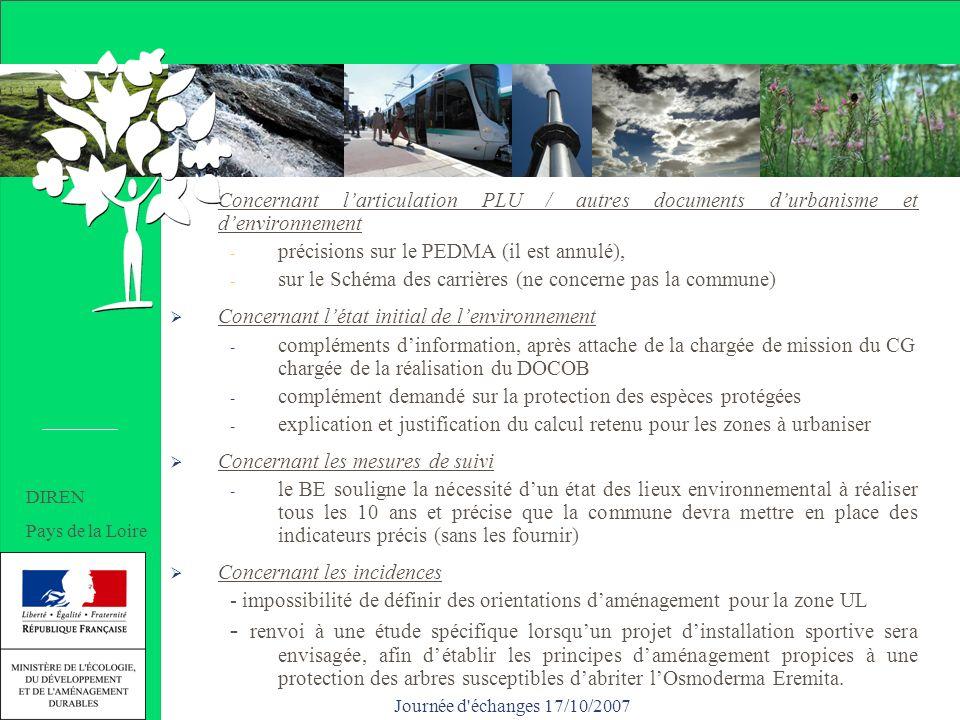 Journée d échanges 17/10/2007 Concernant larticulation PLU / autres documents durbanisme et denvironnement - précisions sur le PEDMA (il est annulé), - sur le Schéma des carrières (ne concerne pas la commune) Concernant létat initial de lenvironnement - compléments dinformation, après attache de la chargée de mission du CG chargée de la réalisation du DOCOB - complément demandé sur la protection des espèces protégées - explication et justification du calcul retenu pour les zones à urbaniser Concernant les mesures de suivi - le BE souligne la nécessité dun état des lieux environnemental à réaliser tous les 10 ans et précise que la commune devra mettre en place des indicateurs précis (sans les fournir) Concernant les incidences - impossibilité de définir des orientations daménagement pour la zone UL - renvoi à une étude spécifique lorsquun projet dinstallation sportive sera envisagée, afin détablir les principes daménagement propices à une protection des arbres susceptibles dabriter lOsmoderma Eremita.
