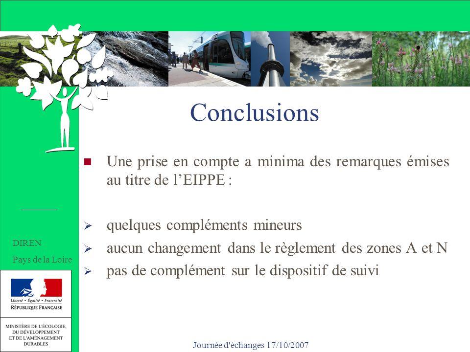 Journée d échanges 17/10/2007 Conclusions Une prise en compte a minima des remarques émises au titre de lEIPPE : quelques compléments mineurs aucun changement dans le règlement des zones A et N pas de complément sur le dispositif de suivi DIREN Pays de la Loire