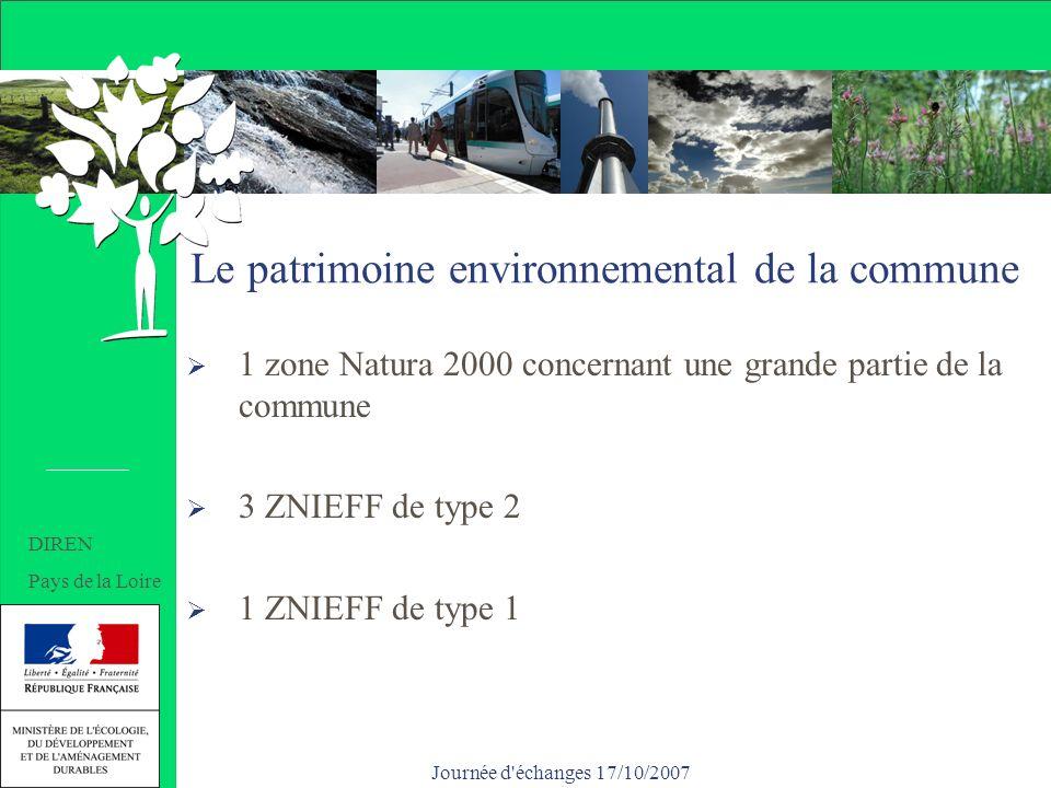 Journée d échanges 17/10/2007 Le patrimoine environnemental de la commune 1 zone Natura 2000 concernant une grande partie de la commune 3 ZNIEFF de type 2 1 ZNIEFF de type 1 DIREN Pays de la Loire