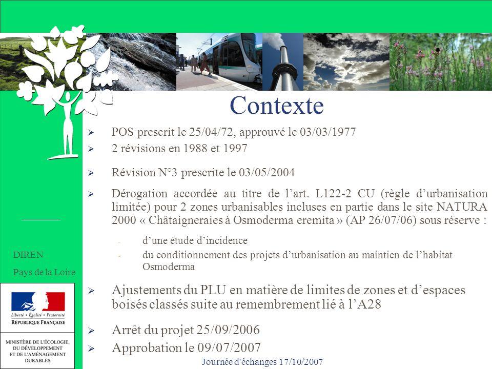 Contexte POS prescrit le 25/04/72, approuvé le 03/03/1977 2 révisions en 1988 et 1997 Révision N°3 prescrite le 03/05/2004 Dérogation accordée au titre de lart.