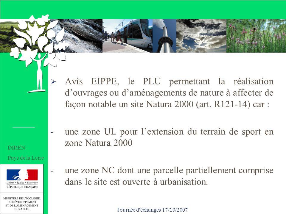 Journée d échanges 17/10/2007 Un PLU soumis à EIPPE Avis EIPPE, le PLU permettant la réalisation douvrages ou daménagements de nature à affecter de façon notable un site Natura 2000 (art.