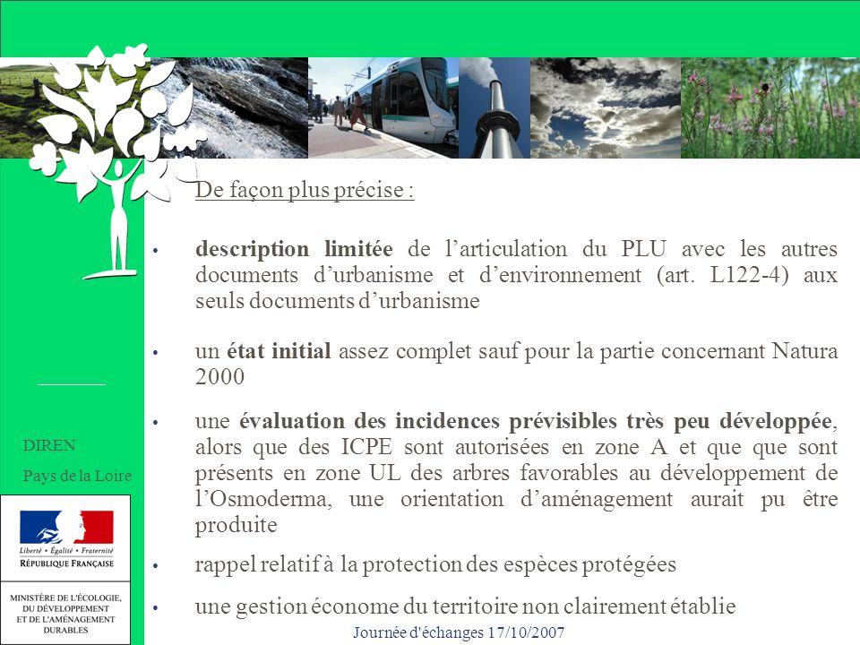 Journée d échanges 17/10/2007 De façon plus précise : description limitée de larticulation du PLU avec les autres documents durbanisme et denvironnement (art.
