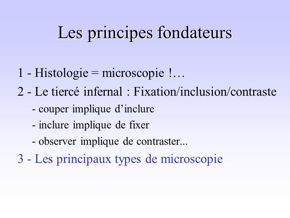 Les principes fondateurs 1 - Histologie = microscopie !… 2 - Le tiercé infernal : Fixation/inclusion/contraste - couper implique dinclure - inclure implique de fixer - observer implique de contraster...