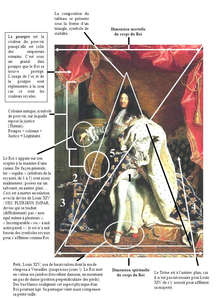 Dimension spirituelle du corps du Roi Le Trône est à larrière plan, car il nest pas nécessaire pour Louis XIV de sy asseoir pour affirmer sa majesté.