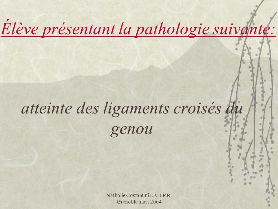Nathalie Costantini I.A. I.P.R. Grenoble mars 2004 atteinte des ligaments croisés du genou Élève présentant la pathologie suivante: